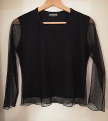Crna majica sa providnim rukavima
