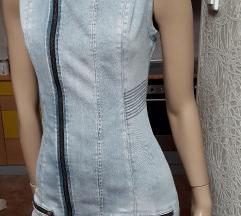 GUESS pamucna siva teksas haljina