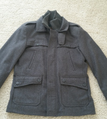 BERSHKA sivi muški kaput sa vunom  kao nov