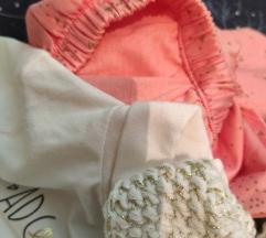 NOVO Trodelni kompletic za devojcice od 3 meseca