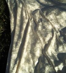 Elegantna duga bledo zuta plis haljina