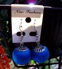 Plave minđuše kuglice