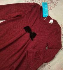 Crveno crna karirana haljina 98 / 104 NOVO
