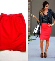 Crvena pencil suknja (100%svila)