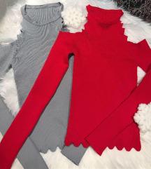 Crvena knit bluza sa golim ramenima NOVA