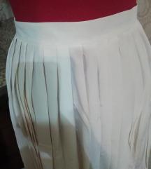 ZARA TRF Bela svilena plisirana suknja TRN