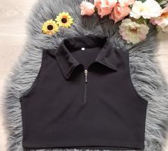Crna crop majica sa zipom m/l