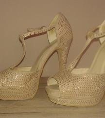 bež zlatne sandale 37