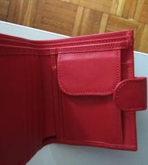 crveni novčanik koža