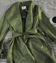 Reserved faux suede zeleni mantil, vel. 34