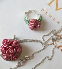Komplet ogrlica 925 i prsten ruze rucni rad, novo