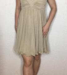 Bež svečana haljina sa biserima