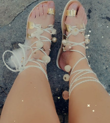 Kožne handmade sandale pom pom-izrada po želji