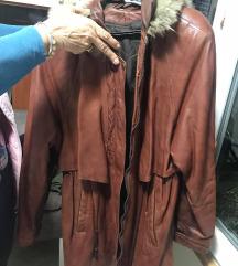 Braon kozna jakna sa prirodnim krznom