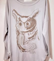 Zara oversized krem bluza sa sovom