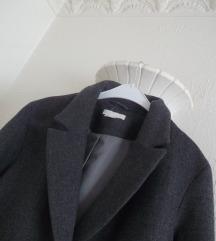 Novi H&M sivi dugacki VUNENI kaput
