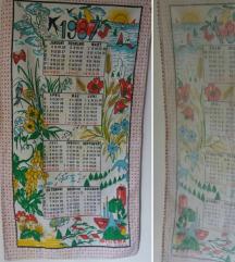 Retro krpa sa kalendarom iz 1989