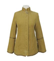 Kratak prolećni kaput od somota u boji senfa