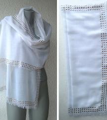 ešarpa bela sa šljokama 178x55 cm