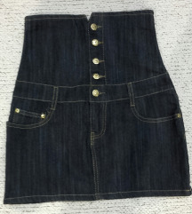 Teksas mini suknja - visok struk