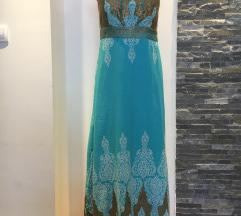 Plava haljina sa zlatnim krljuštima