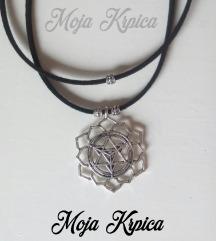 Yoga meditation black silver ogrlica ručne izrade