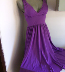 MS ljubicasta dekoltovana haljina M/L