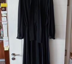 VINTAGE crna plisirana haljina
