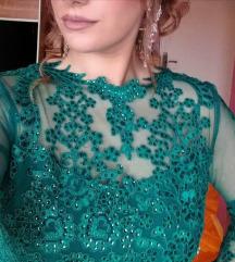 Smaragdno zelena svecana haljina, šivena
