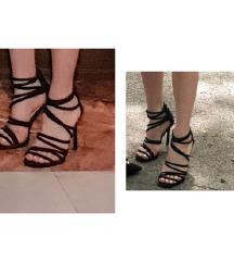 Crne sandale na stiklu kao •NOVE• 40/41