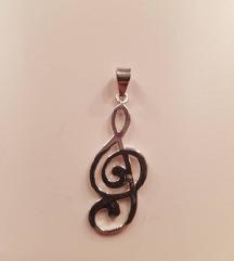Srebrni privezak - violinski ključ