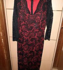 crvena cipkana haljina