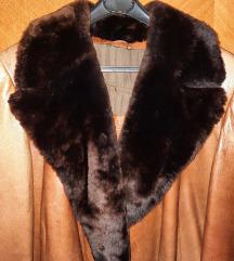 Cortefiel zenski dugi kozni kaput sa krznom