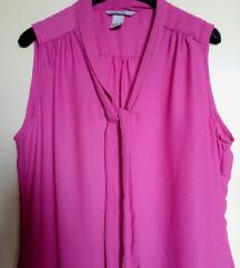 H&M fuchsia pink bluza tie neck /  L