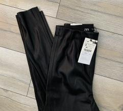 Zara Crne kozne Helanke  Pantalone