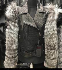 Nova kroko kozna jakna sa prirodnim krznom L