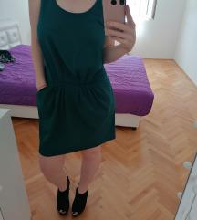 Zara zelena haljina bez ledja sa dzepovima