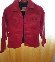Zenska kozna crvena jakna VINTAGE